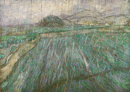Van Gogh, Vincent: Wheat Field in the Rain. Fine Art Print/Poster. Sizes: A4/A3/A2/A1 (003914)